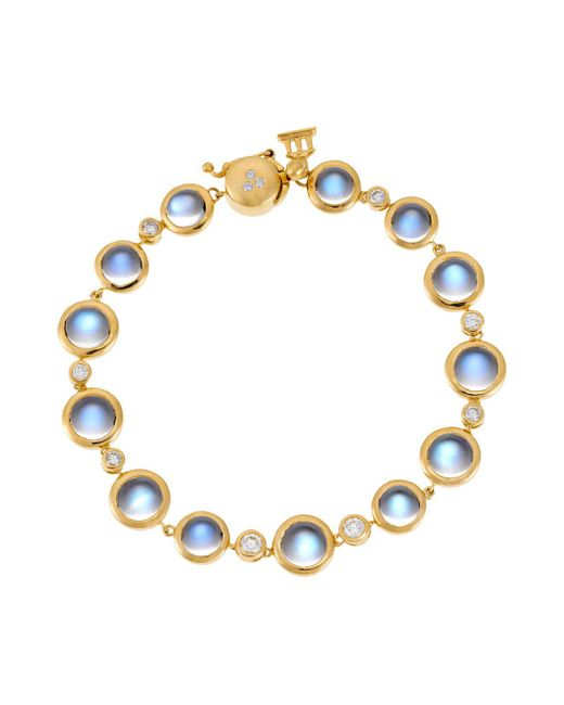 Temple St. Clair | 18k Yellow Gold Single Round Bracelet With Royal Blue Moonstone And Diamond | Lyst