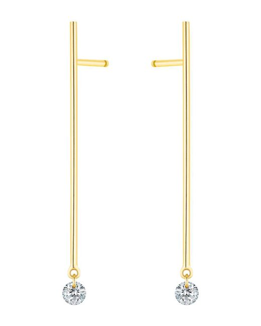 La Brune Et La Blonde - Metallic 18k Yellow Gold 360 Diamond Stick Drop Earrings - Lyst