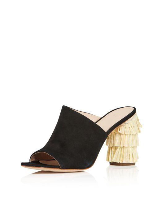Pour La Victoire - Black Women's Hettie Nubuck Leather & Raffia High Heel Slide Sandals - Lyst