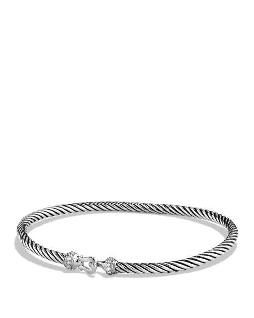 David Yurman - Metallic Diamond Sterling Silver Petite Buckle Bracelet - Lyst