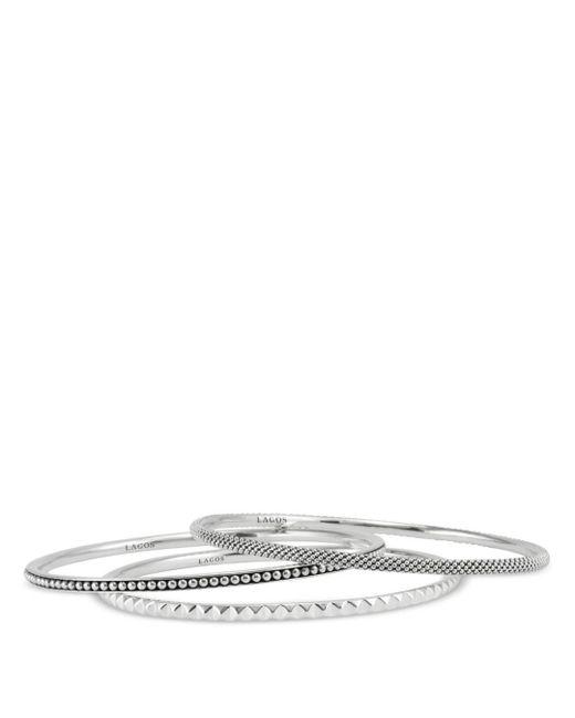 Lagos - Metallic Sterling Silver Caviar And Sugarloaf 3 Bangle Set - Lyst
