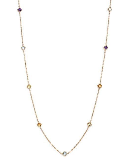 "Bloomingdale's - Metallic Multi Gemstone Clover Station Necklace In 14k Yellow Gold, 36"" - Lyst"