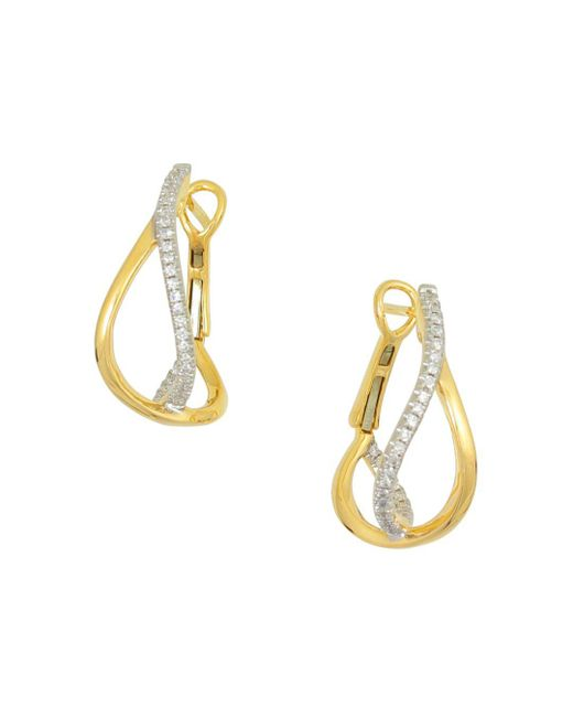Frederic Sage - Metallic 18k Yellow Gold Small Diamond Crossover Hoop Earrings - Lyst