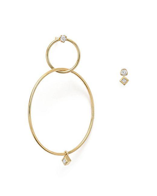 Zoe Chicco - Metallic 14k Yellow Gold Mixed Diamond Stud And Hoop Earrings - Lyst