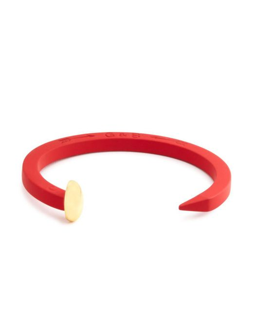 Giles & Brother - Red Rubberized Railroad Spike Cuff for Men - Lyst