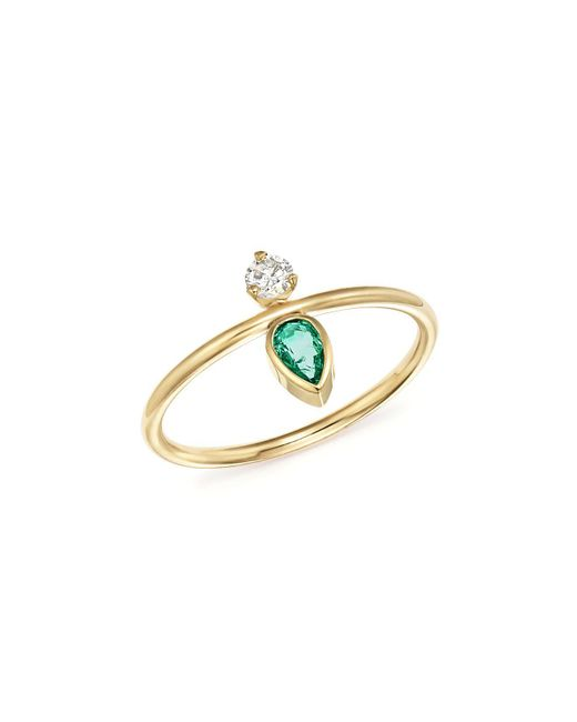 Zoe Chicco | Metallic X Gemfields 14k Yellow Gold Vertical Diamond And Pear-cut Emerald Ring | Lyst