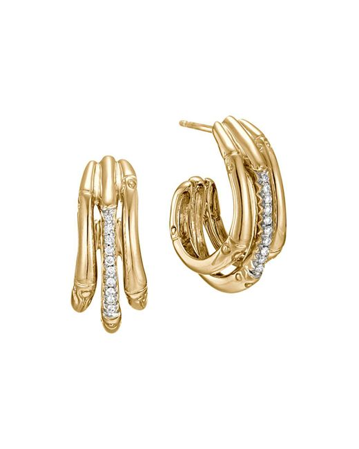 John Hardy | Metallic Bamboo 18k Yellow Gold Diamond Pavé Small Hoop Earrings With Diamonds | Lyst