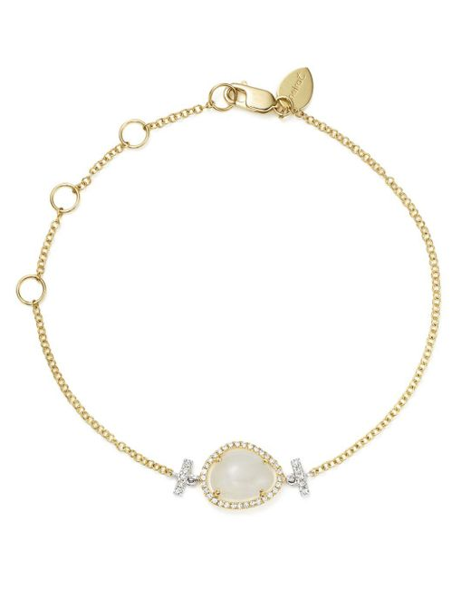Meira T - Metallic 14k White And Yellow Gold Rainbow Moonstone And Diamond Bracelet - Lyst