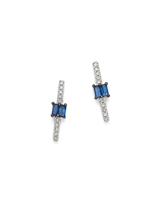 KC Designs - Multicolor 14k White Gold Mosaic Sapphire & Diamond Stud Earrings - Lyst