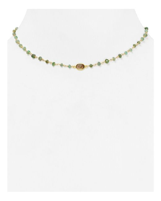 "Ela Rae | Green Libi Beaded Emerald Necklace, 14"" | Lyst"