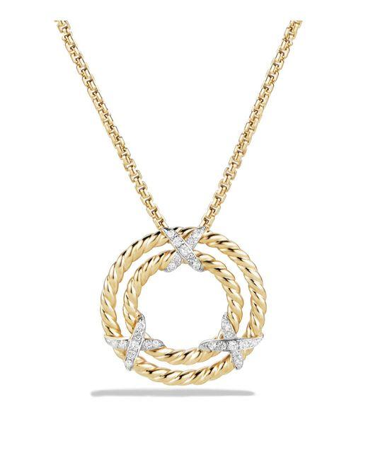 David Yurman   Metallic X Circle Pendant Necklace With Diamonds In 18k Yellow Gold   Lyst