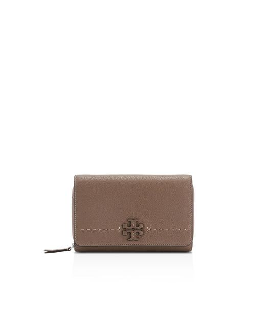Tory Burch - Multicolor Mcgraw Flat Leather Wallet Crossbody - Lyst