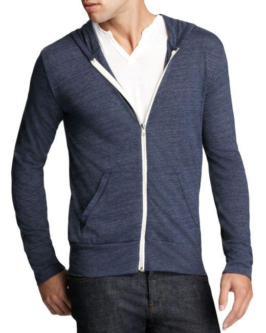 Alternative Apparel - Blue Heathered Zip Hoodie for Men - Lyst
