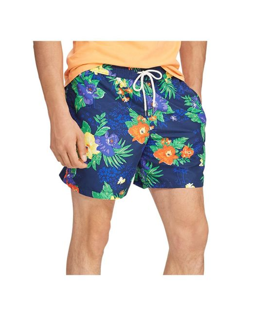 c151bb652 Polo Ralph Lauren - Blue Traveler Tropical Floral - Print Swim Trunks for  Men - Lyst ...