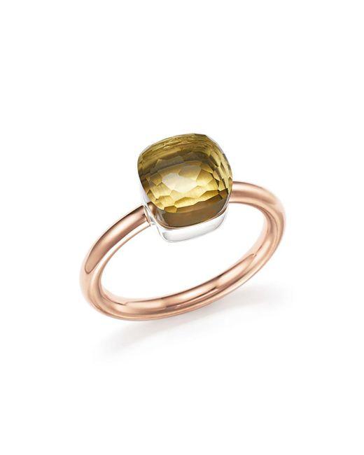 Pomellato - Multicolor Nudo Mini Ring With Faceted Lemon Quartz In 18k Rose And White Gold - Lyst