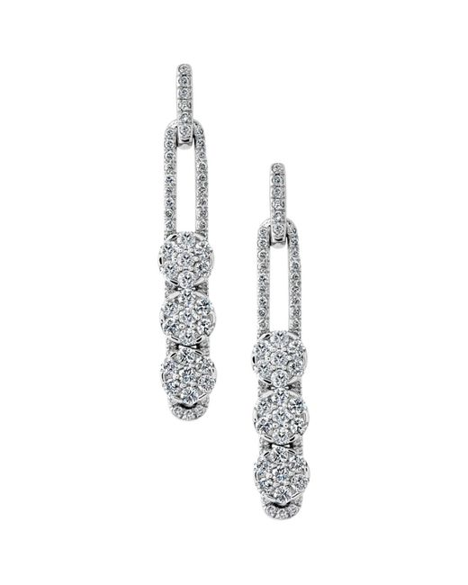 Hulchi Belluni | 18k White Gold Tresore Diamond Linear Earrings | Lyst