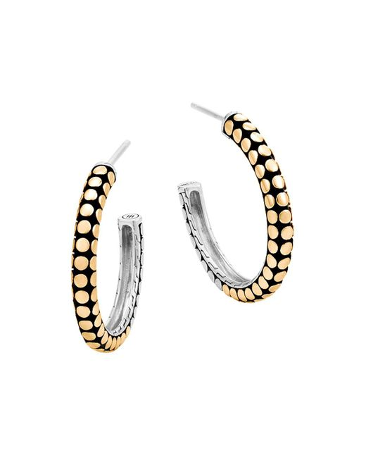 John Hardy | Metallic 18k Yellow Gold And Sterling Silver Dot Small Hoop Earrings | Lyst