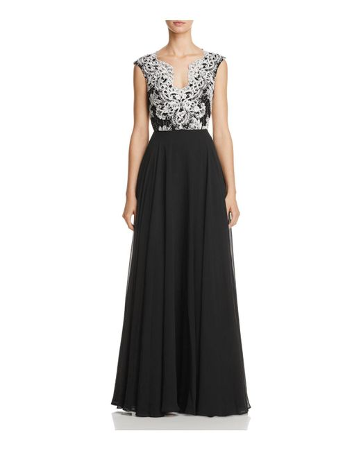 Aidan Mattox | Black Lace Embroidered Gown | Lyst