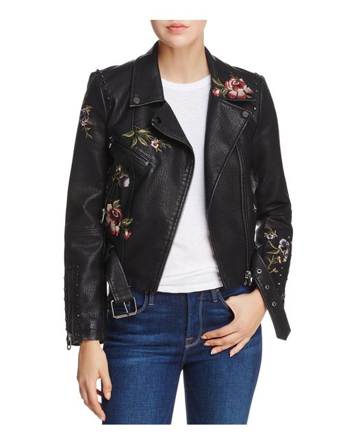 Aqua | Black Embroidered Faux Leather Moto Jacket | Lyst