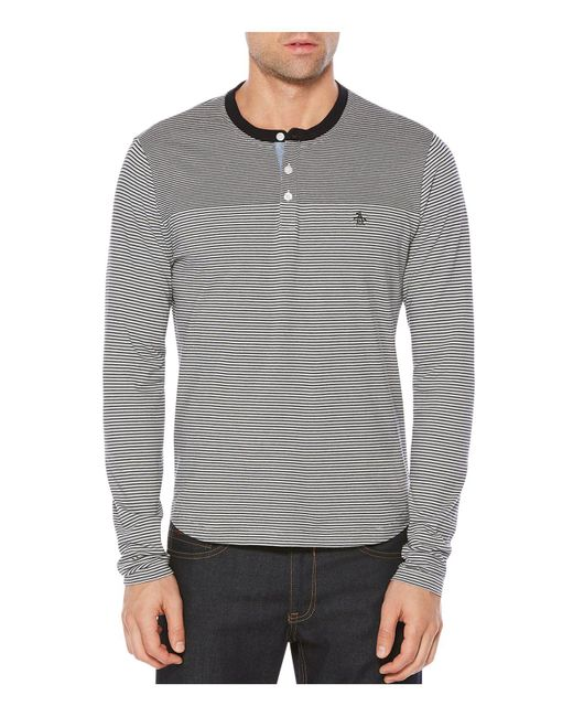 Original Penguin | Gray Long Sleeve Striped Henley Shirt for Men | Lyst