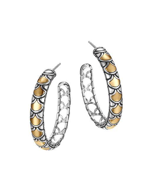 John Hardy | Metallic Sterling Silver & 18k Gold Naga Medium Hoop Earrings | Lyst