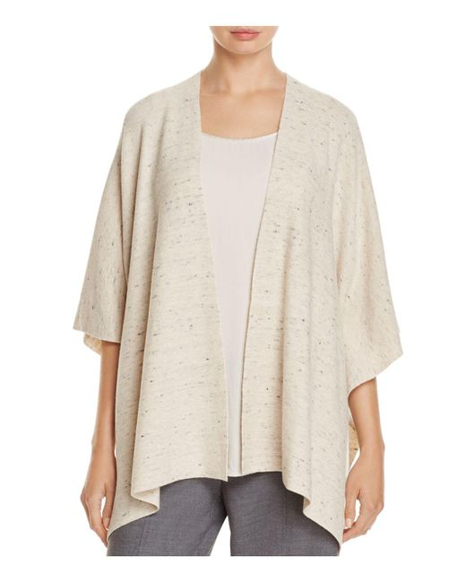 Eileen Fisher | Natural Speckled Poncho Cardigan | Lyst