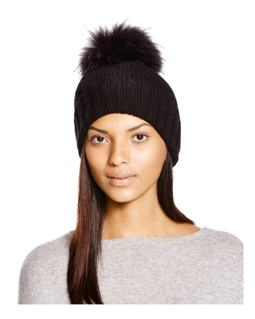 Inverni | Black Foldover Knit Beanie With Asiatic Raccoon Fur Pom-pom | Lyst