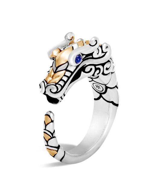 John Hardy - Metallic 18k Gold And Sterling Silver Legends Naga Ring With Sapphire - Lyst