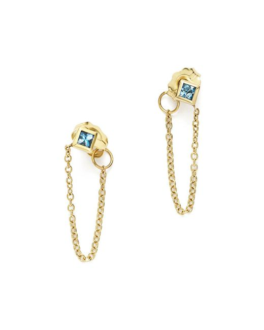 Zoe Chicco | Metallic 14k Yellow Gold Draped Chain Stud Earrings With Aquamarine | Lyst