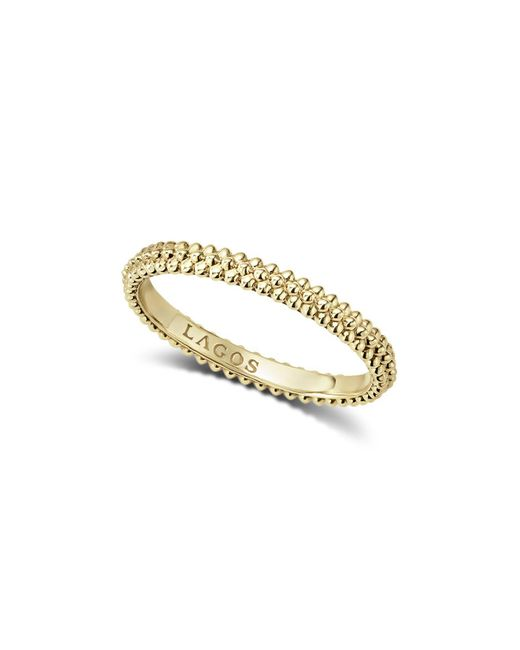 Lagos - Metallic Caviar Gold Collection 18k Gold Triple Beaded Stacking Ring - Lyst