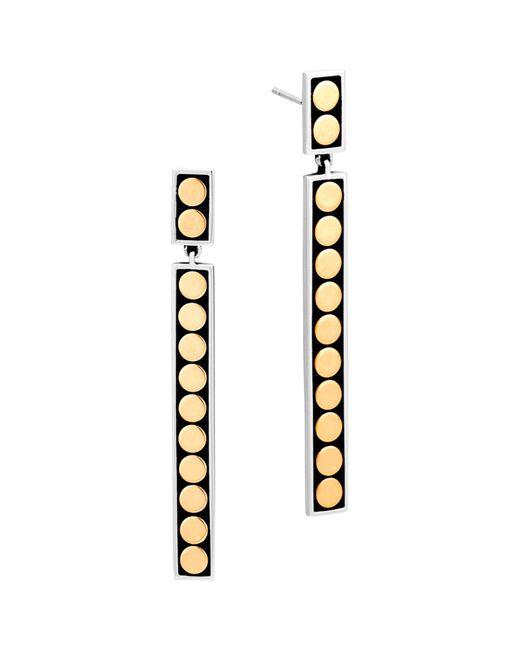 John Hardy | Metallic 18k Yellow Gold And Sterling Silver Dot Drop Earrings | Lyst