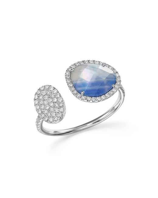 Meira T - Blue 14k White Gold Sapphire And Moonstone Doublet Open Ring With Diamonds - Lyst