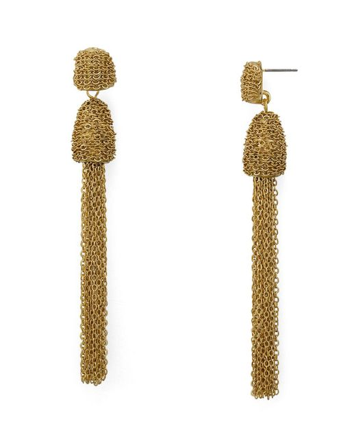 Aqua - Metallic Tassel Drop Earrings - Lyst