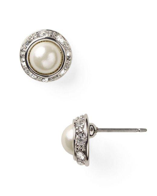 Ralph Lauren - Metallic Lauren Mini Pearl Cabochon & Pavé Bezel Stud Earrings - Lyst