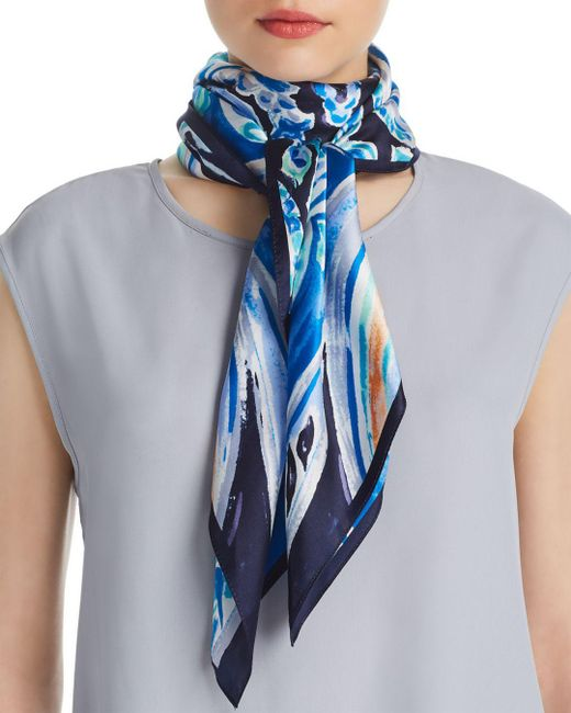 Echo - Blue Painterly Paisley Silk Square Scarf - Lyst