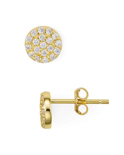 Aqua - Metallic Pavé Cluster Round Stud Earrings - Lyst