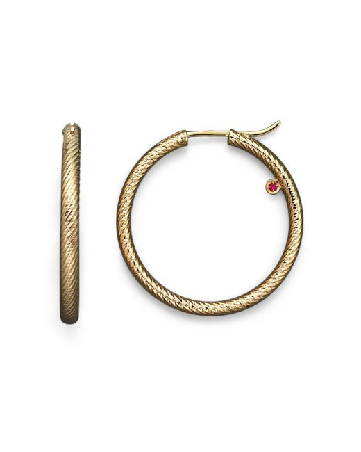 Roberto Coin - Metallic 18k Yellow Gold Hoop Earrings - Lyst