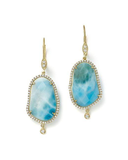 Meira T - Blue 14k Yellow Gold Larimar Drop Earrings With Diamonds - Lyst