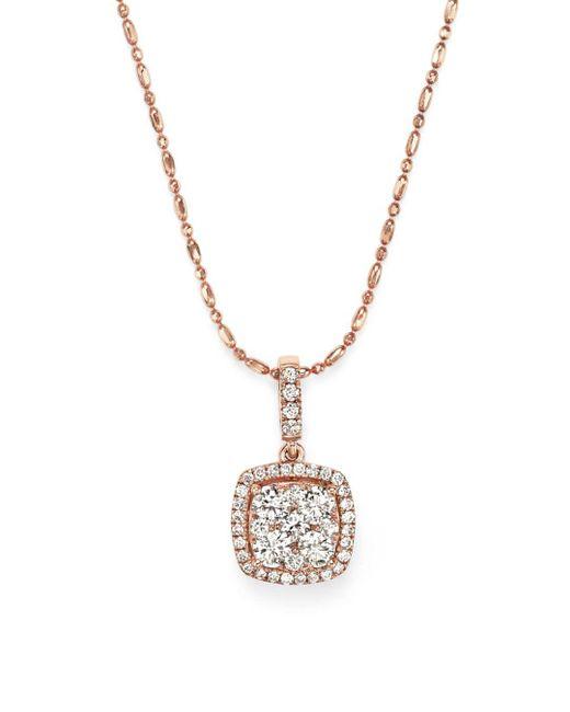 Bloomingdale's - Metallic Diamond Pendant Necklace In 14k Rose Gold, .65 Ct. T.w. - Lyst