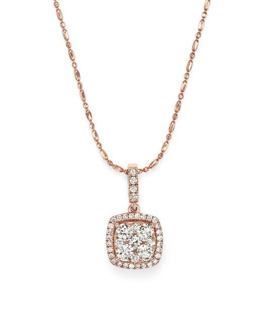 Bloomingdale's - Metallic Diamond Pendant Necklace In 14k Rose Gold - Lyst