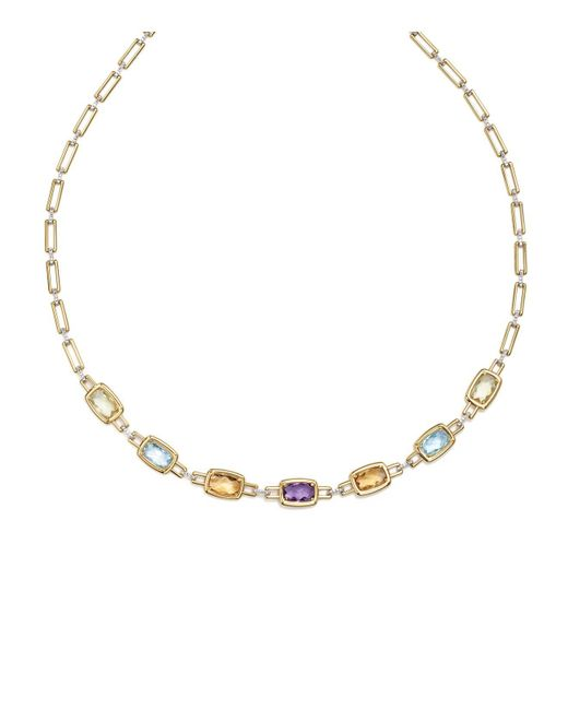 "Bloomingdale's - Metallic Multi Gemstone Necklace In 14k Yellow And White Gold, 18"" - Lyst"