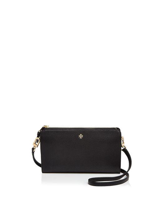 Tory Burch | Black Robinson Pebbled Leather Wallet Crossbody | Lyst