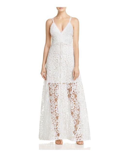 Aqua | White Crisscross Lace Maxi Dress | Lyst