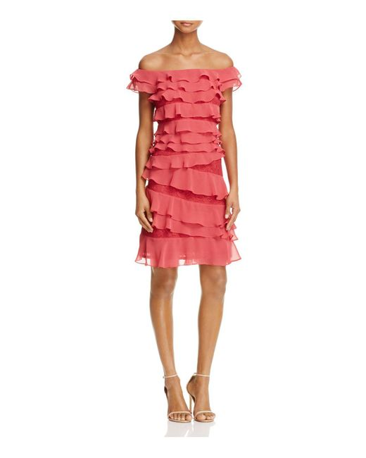 Adrianna Papell | Red Chiffon Ruffle Dress | Lyst