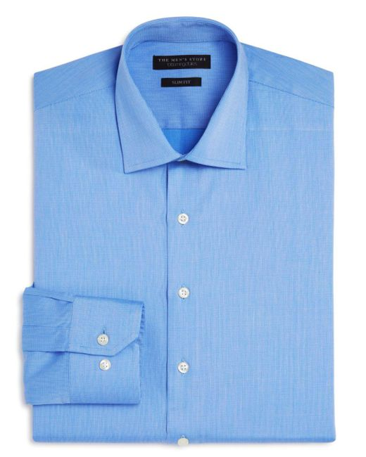 Bloomingdale's - Blue Textured Solid Slim Fit Basic Dress Shirt for Men - Lyst
