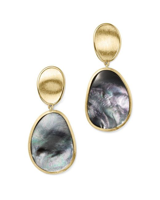 Marco Bicego - Metallic 18k Yellow Gold Lunaria Black Mother-of-pearl Double Drop Earrings - Lyst