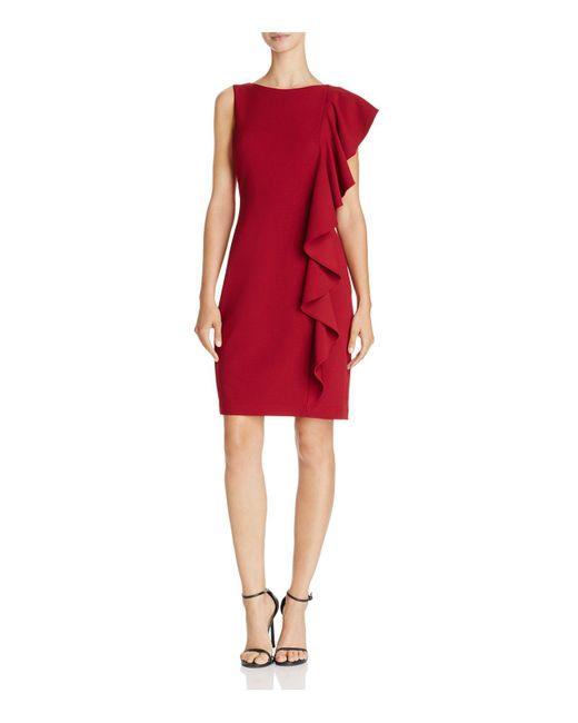 Adrianna Papell | Red Side-ruffle Dress | Lyst