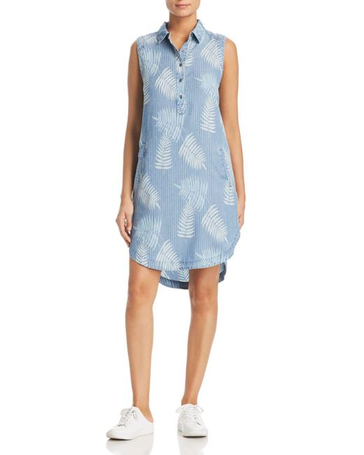BILLY T - Blue Tropical Henley Dress - Lyst