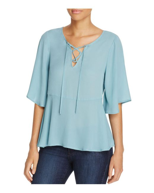Cupcakes And Cashmere | Blue Josselyn Lace-up Blouse | Lyst