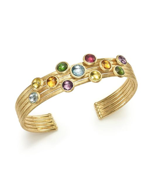 Marco Bicego | Metallic 18k Yellow Gold Jaipur Five Band Mixed Semi-precious Gemstone Cuff Bracelet | Lyst